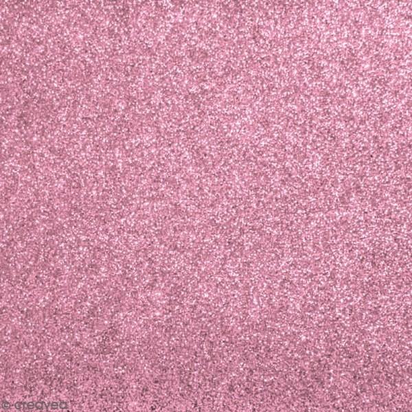Tissu pailleté Rose - 66 x 45 cm - Photo n°1
