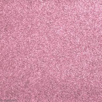 Tissu pailleté Rose - 66 x 45 cm