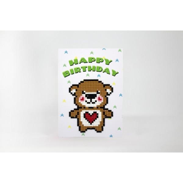 Broderie Diamant Kit- Joyeux anniversaire (ours en peluche)  WC0325 - Photo n°2