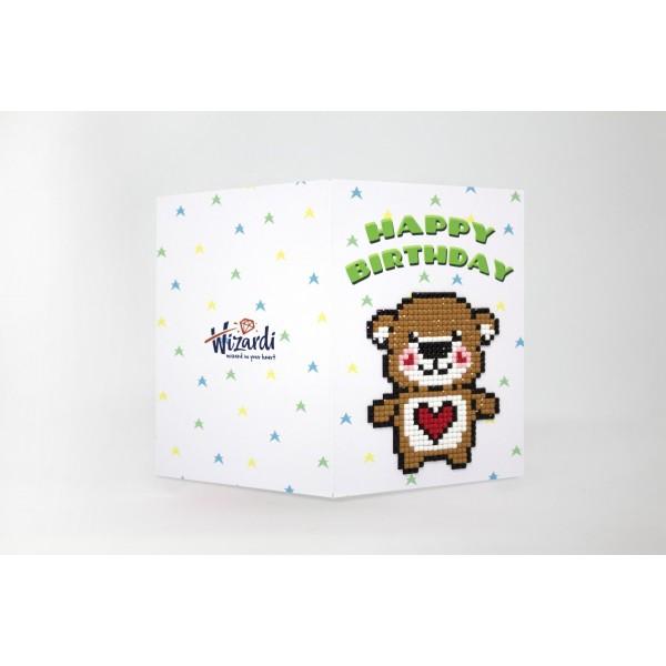 Broderie Diamant Kit- Joyeux anniversaire (ours en peluche)  WC0325 - Photo n°1