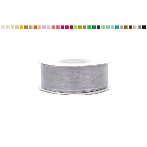 Ruban organza 25 mm de large bobine de 25 metres de long gris - Photo n°1