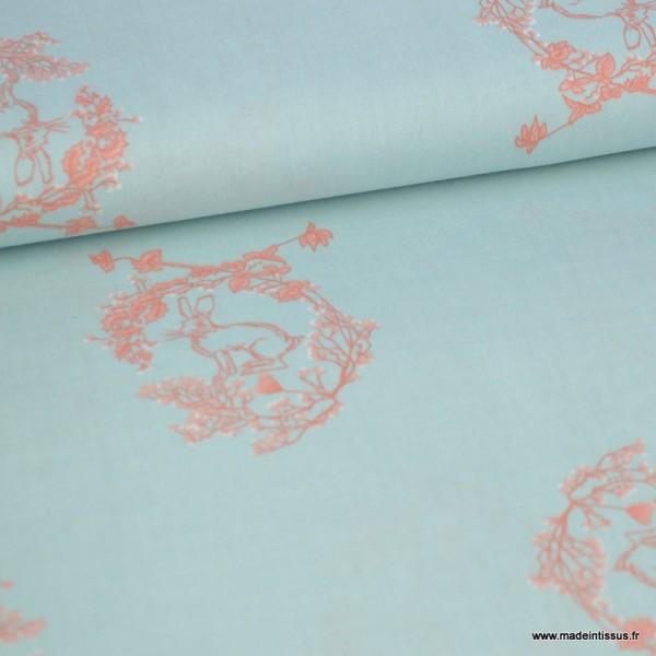 Tissu popeline motif Lapin  couronne de fleurs fond Menthe - Photo n°1