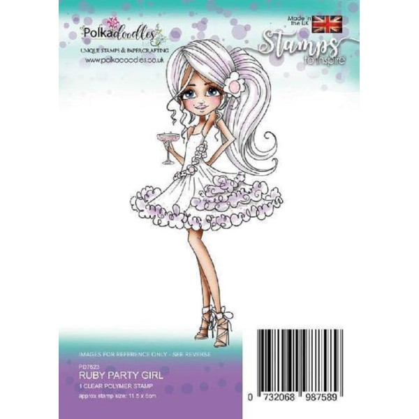 Tampon clear Polkadoodles - Ruby Party Girl - 11,5 x 6 cm - Photo n°1