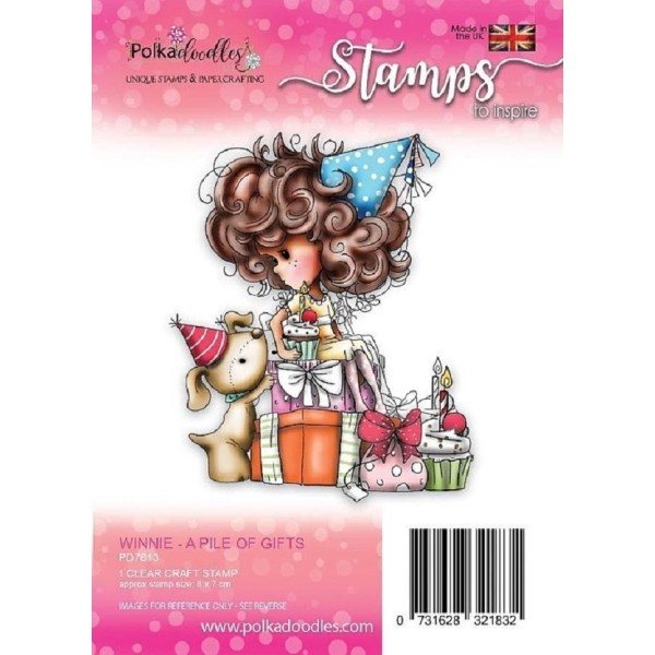 Tampon clear Polkadoodles - collection Winnie - A pile of gifts - 8 x 7 cm - Photo n°1
