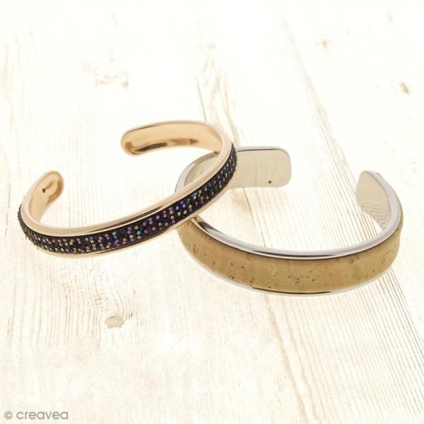 Bracelet en métal - Gris rhodium - 14,5 x 66 mm - Photo n°2