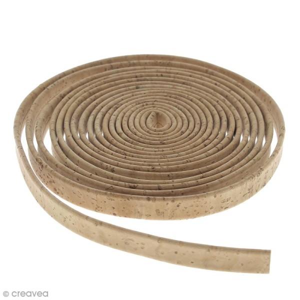 Cordon plat en liège Naturel - 10 mm - Au mètre (sur mesure) - Photo n°1