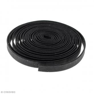 Cordon plat en liège Noir - 10 mm - Au mètre (sur mesure)