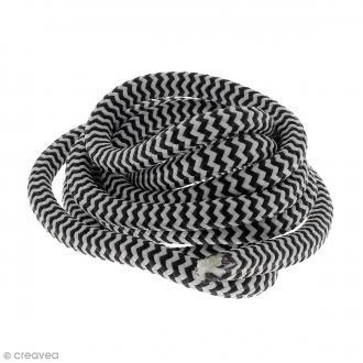 Corde d'escalade pour bijoux - Blanche et noire - 10 mm x 3 mètres