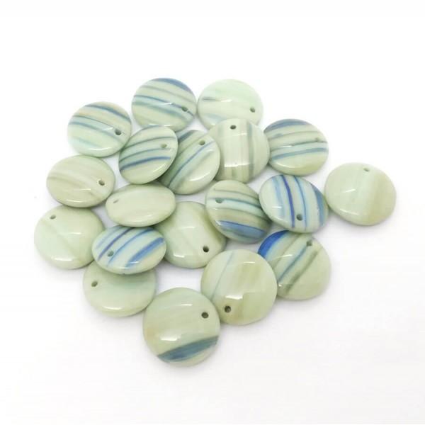 10x Perles Lentilles en verre Tchèque 12mm RAYURES VERT AMANDE / BLEU - Photo n°2
