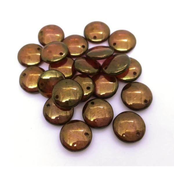 10x Perles Lentilles en verre Tchèque 12mm TRANSPARENT AMETHYST GOLD LUSTER - Photo n°2