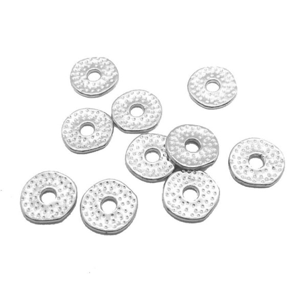 10x Perles mini donut en metal martelé 12mm ARGENTE - Photo n°1