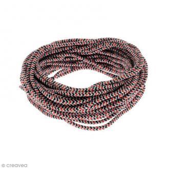 Cordon d'escalade pour bijoux - Noir blanc rouge - 3 mm - Au mètre (sur mesure)
