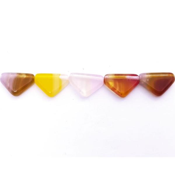 10 Perles Verre Tchèque 12x9mm Triangles bas Peach Mix - Photo n°2