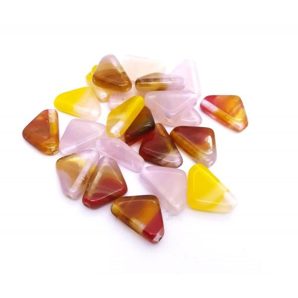10 Perles Verre Tchèque 12x9mm Triangles bas Peach Mix - Photo n°1