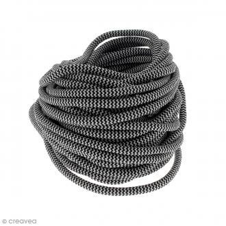Cordon d'escalade pour bijoux - Noir et blanc - 5 mm - Au mètre (sur mesure)