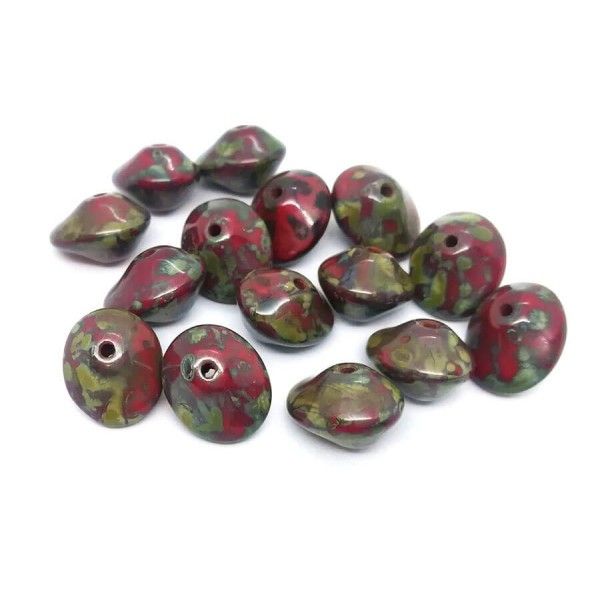 10 Perles Verre Tchèque UFO Beads 7x11mm Rouge Opaque Picasso - Photo n°1