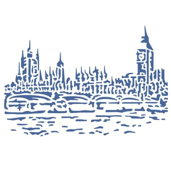 Pochoir plastique souple réutilisable 21 x 29,7 cm STAMPERIA LONDRE 398 - Photo n°1