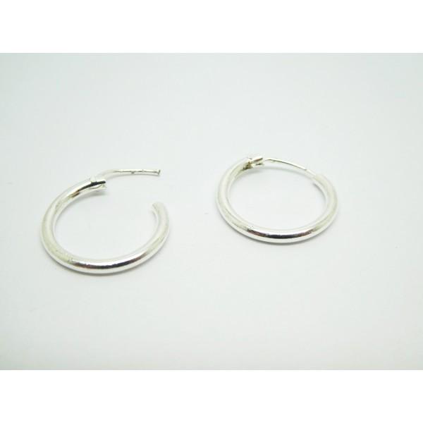 Paire de créoles, anneaux - 15mm - argent clair - Photo n°1