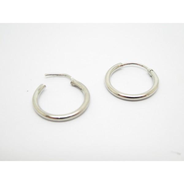 Paire de créoles, anneaux - 15mm - argent platine - Photo n°1