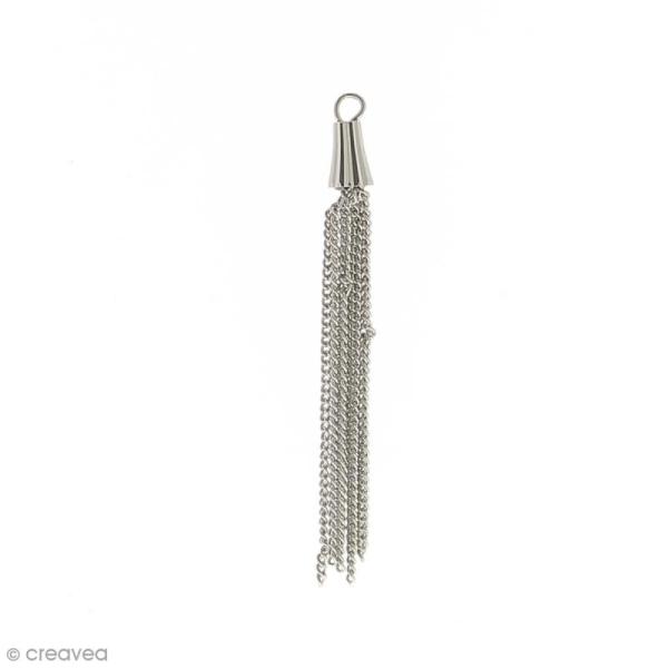 Pendentif pompon en métal avec chaînes - 52 mm - Photo n°1