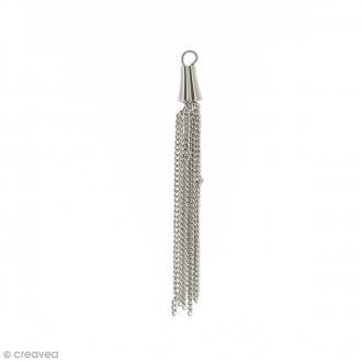 Pendentif pompon en métal avec chaînes - 52 mm
