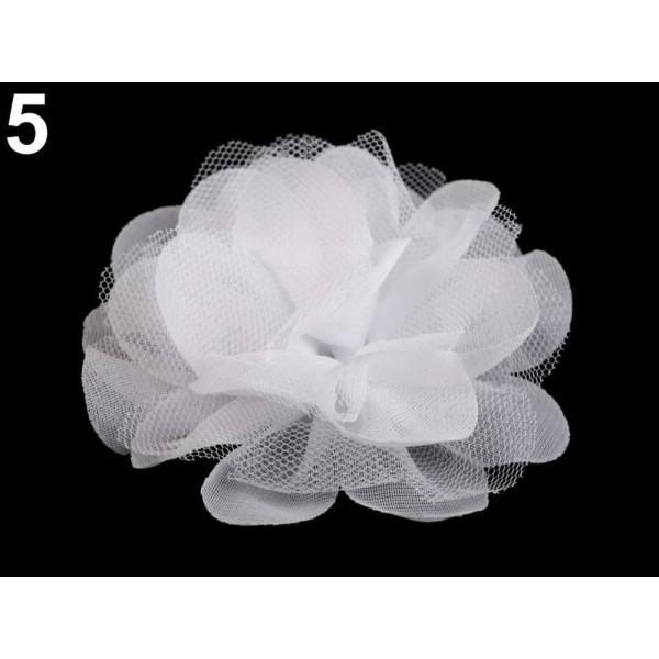 4pc 5 (9 Cm) Blanc en Mousseline de soie Fleur Ø8 Cm, d'Autres Fleurs À Coudre Ou à coller, des Vête - Photo n°1
