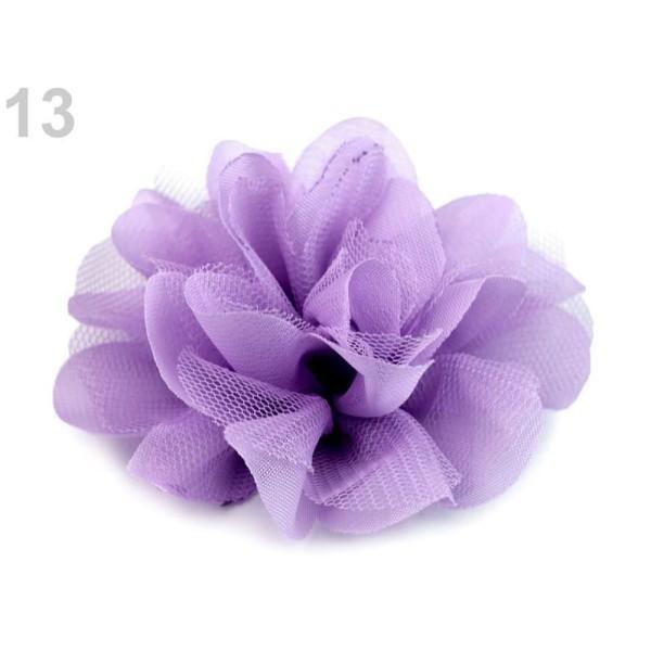 4pc 13 Violet Lilas Mousseline de soie Fleur Ø8 Cm, d'Autres Fleurs À Coudre Ou à coller, des Vêteme - Photo n°1