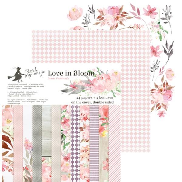 24 papiers imprimés scrapbooking 15 x 15 cm PIATEK LOVE IN BLOOM - Photo n°1