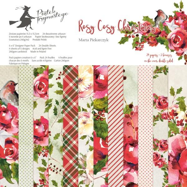 24 papiers imprimés scrapbooking 15 x 15 cm PIATEK ROSY COSY CHRISTMAS - Photo n°1