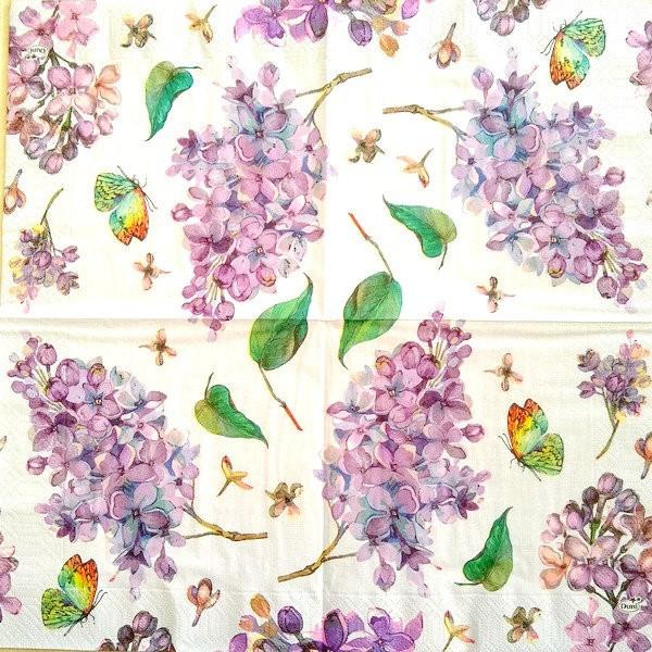 4 serviettes en papier découpage collage 33 cm FLEUR LILAS PAPILLON 352 - Photo n°2