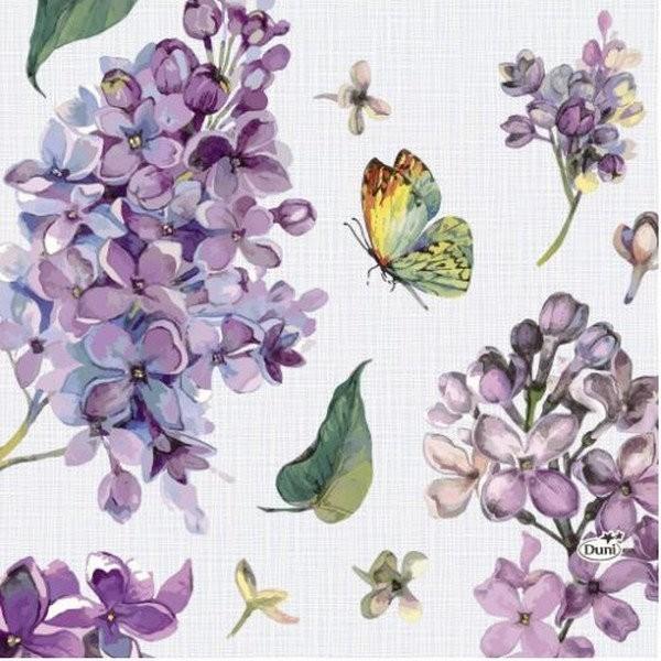 4 serviettes en papier découpage collage 33 cm FLEUR LILAS PAPILLON 352 - Photo n°1