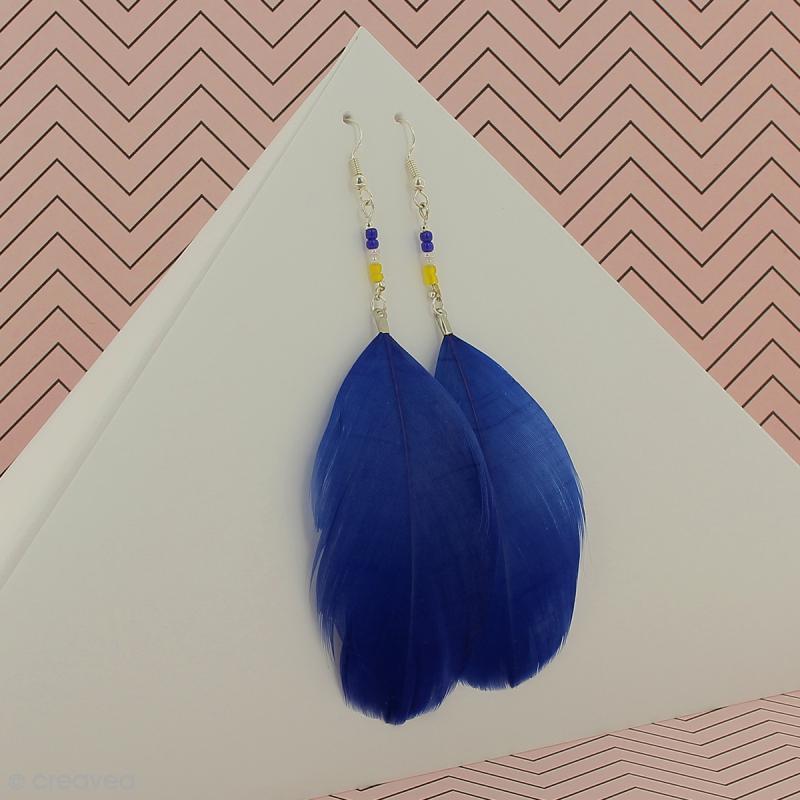 Pendentif plume Bleu pétrole - 75 mm - Photo n°2