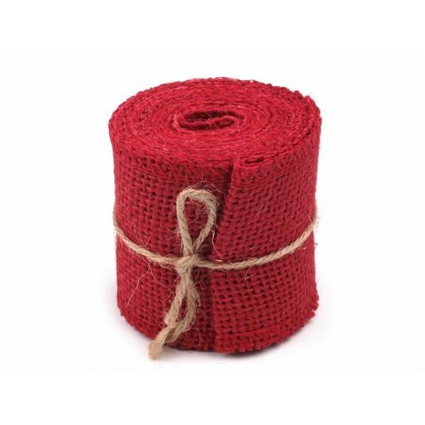 1pc Rouge Fraise Naturelle de Jute Ruban Largeur 60 mm, Rubans, Mercerie, - Photo n°1