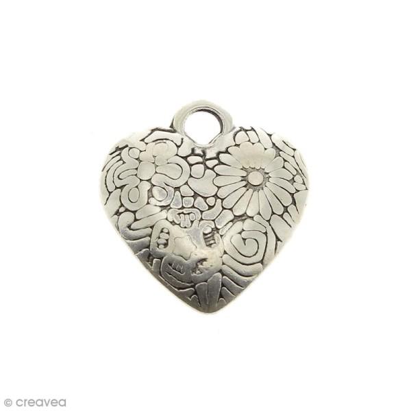 Breloque Coeur en métal - 24 mm - Photo n°1