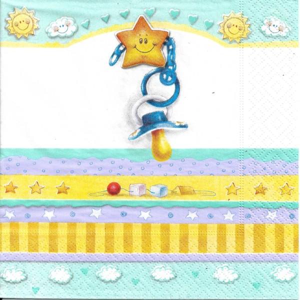 4 Serviettes en papier Naissance Bébé Tétine Format Lunch Decopatch 20641 Paper+Design - Photo n°1