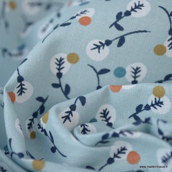 Tissu coton imprimé petites fleurs noisettes et blanches fond bleu Nil -  Oeko tex - Photo n°3