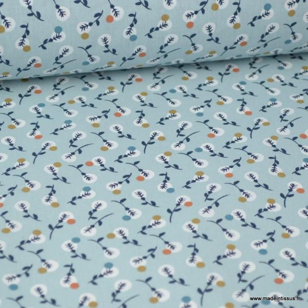 Tissu coton imprimé petites fleurs noisettes et blanches fond bleu Nil -  Oeko tex - Photo n°1