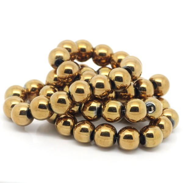 10 Perles Hematite Doré 10mm Hématite Creation bijoux, bracelet, Collier - Photo n°3