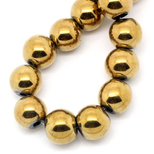 10 Perles Hematite Doré 10mm Hématite Creation bijoux, bracelet, Collier - Photo n°1