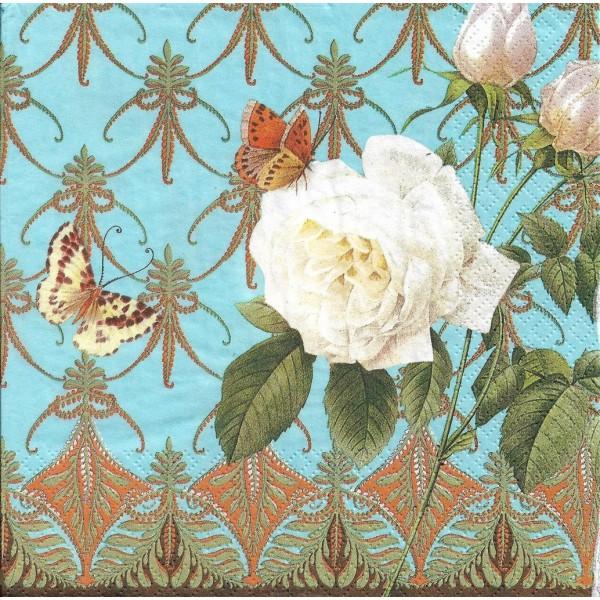4 Serviettes en papier Rose Blanche Papillon Format Lunch Decoupage Decopatch 1210-13003 Atelier - Photo n°2