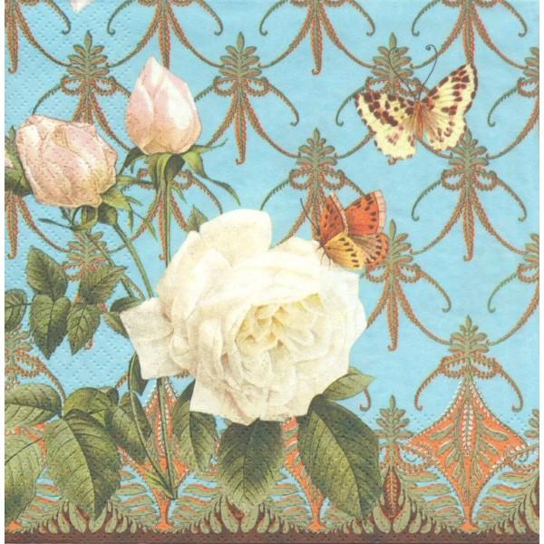4 Serviettes en papier Rose Blanche Papillon Format Lunch Decoupage Decopatch 1210-13003 Atelier - Photo n°1