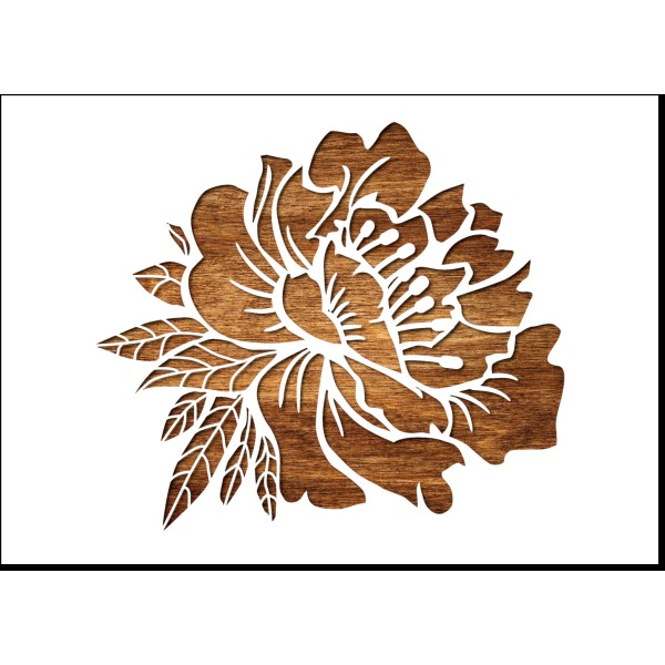 POCHOIR PEINTURE EN PLASTIQUE MYLAR Format A5 (21 * 14,8 cm) : Fleur pivoine - Photo n°1