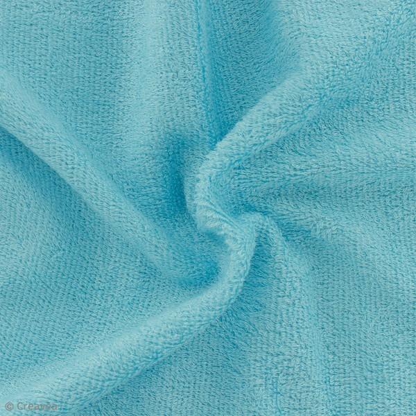Tissu éponge de bambou - Bleu turquoise - Par 10 cm (sur mesure) - Photo n°1