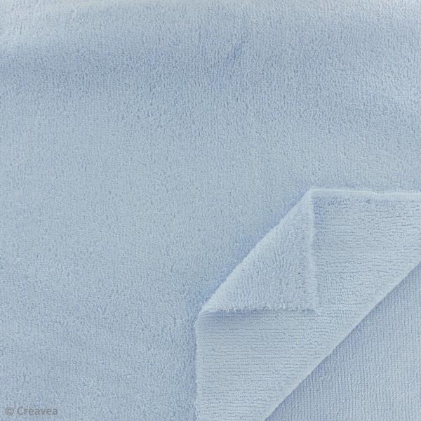 Tissu éponge de bambou - Bleu ciel - Par 10 cm (sur mesure) - Photo n°2