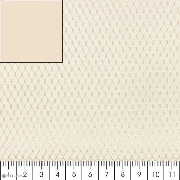 Tissu filet Mesh fabric - Beige - Par 10 cm (sur mesure) - Photo n°1