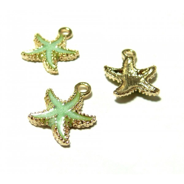 LOT de 12 PENDENTIFS perles breloques ETOILES de MER SANS NICKEL création bijoux