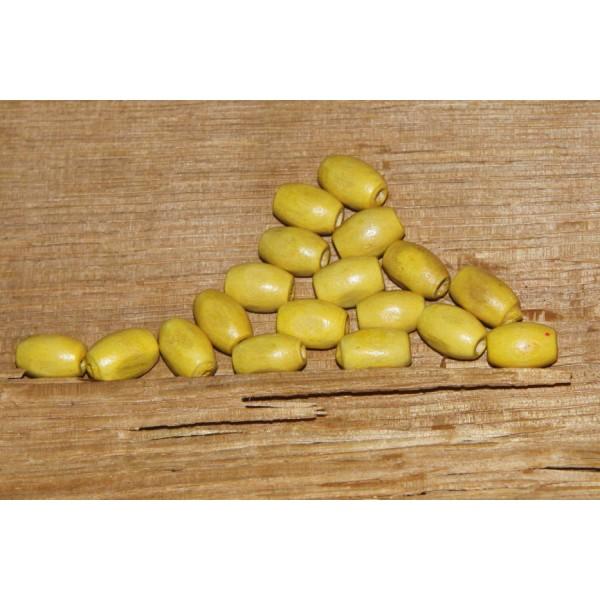 Lot de 18 perles olives jaunes en bois, perles ovale de 10 mm - Photo n°1