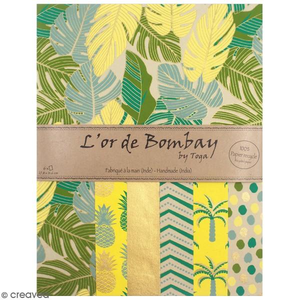 Papier recyclé l'Or de Bombay - Vert et jaune - 27,8 x 21,6 cm - 6 feuilles - Photo n°1