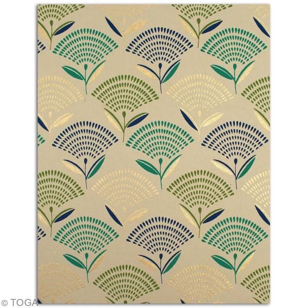 Papier recyclé l'Or de Bombay - Vert et bleu - 27,8 x 21,6 cm - 6 feuilles - Photo n°5
