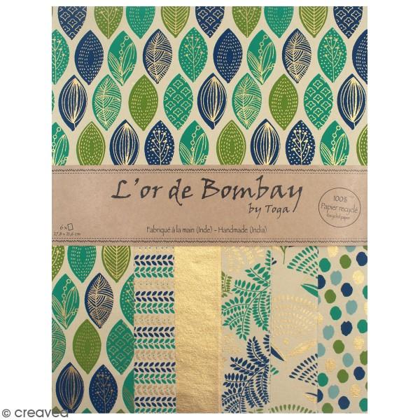 Papier recyclé l'Or de Bombay - Vert et bleu - 27,8 x 21,6 cm - 6 feuilles - Photo n°1